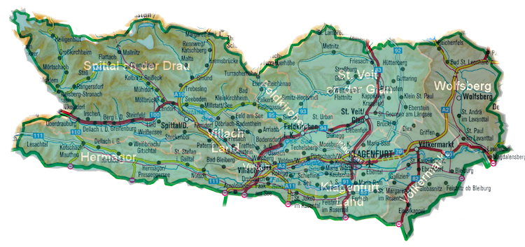 Geographic map of Carinthia with district overlay