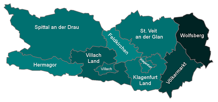 Map of the 10 districts of Carinthia